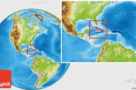physical location map of cuba highlighted continent entire continent