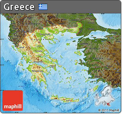 map greece physical