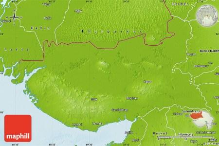 physical map of kachchh (bhuj)