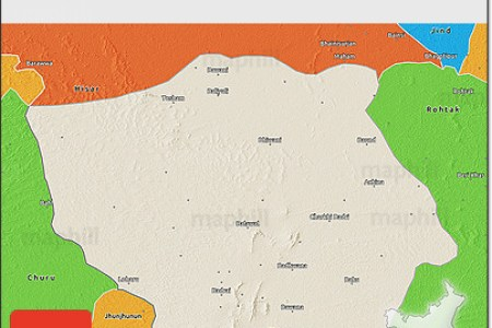 free shaded relief 3d map of bhiwani, political outside