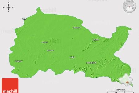 political 3d map of bhilwara, single color outside