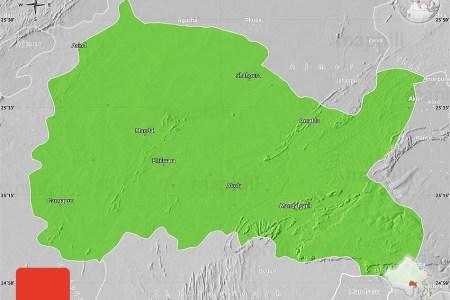 political map of bhilwara, lighten, desaturated