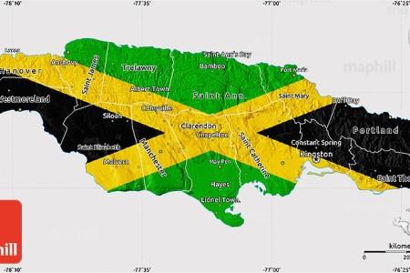 flag map of jamaica