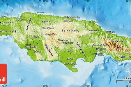 physical map of jamaica political outside