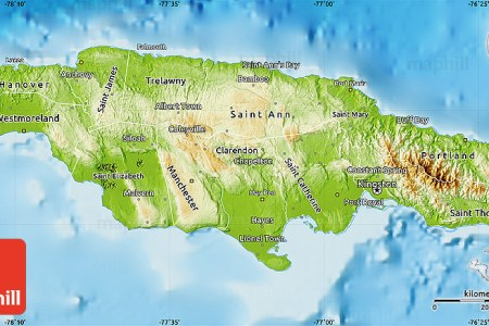 physical map of jamaica political outside shaded relief sea