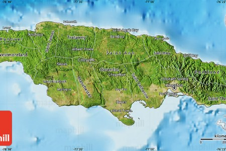 satellite map of jamaica shaded relief outside