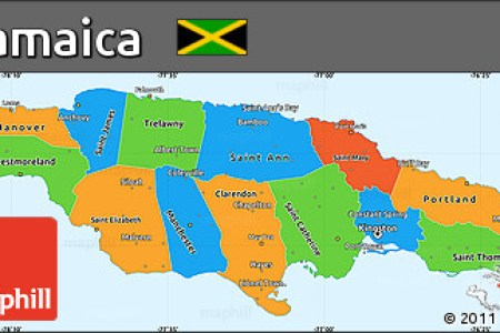 free political simple map of jamaica political shades outside