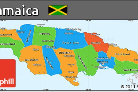 free rounded political simple map of jamaica political shades outside