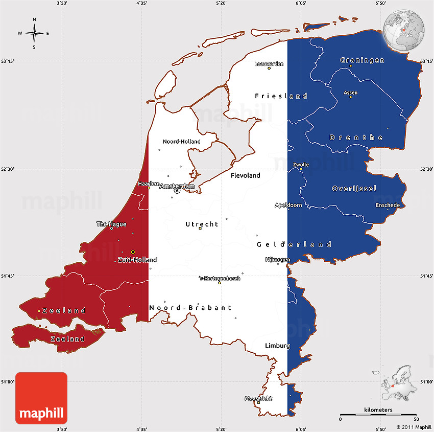 map with netherlands