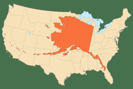 alaska area compared to conterminous us mapsof.net