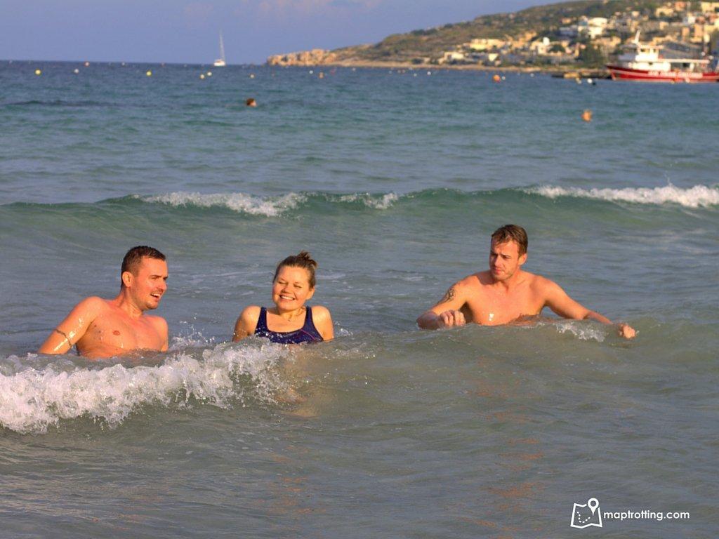 At Mellieħa Bay Beach in Malta
