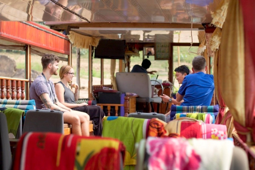 Inside a slow boat on the Mekong River