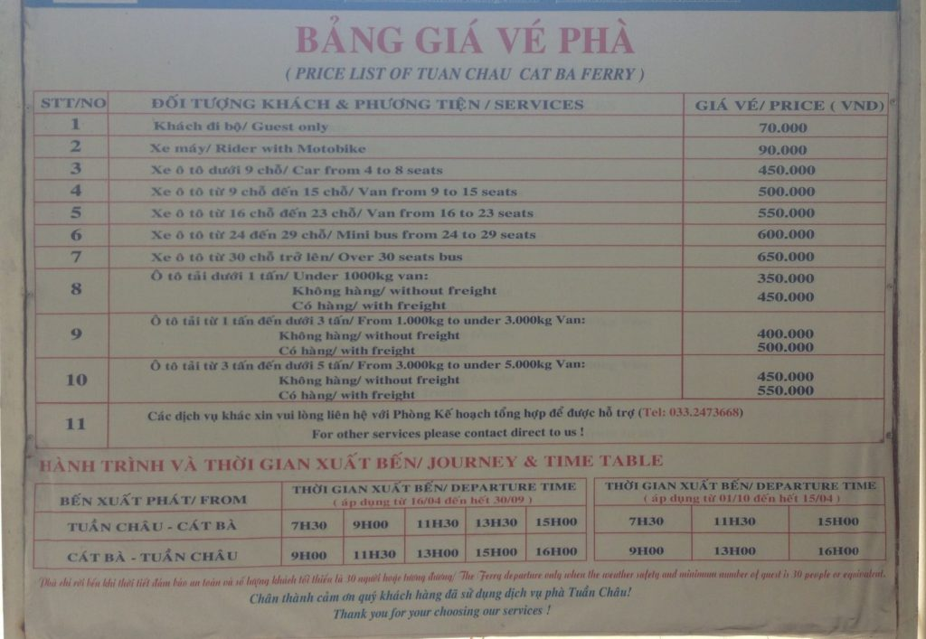 Cat Ba island ferry timetable and prices