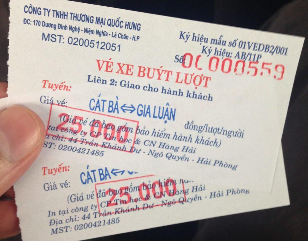 Ferry tickets to Cat Ba island