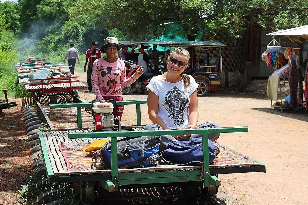 battambang, kristina on bamboo train, cambodia