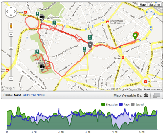 Running route in Rome