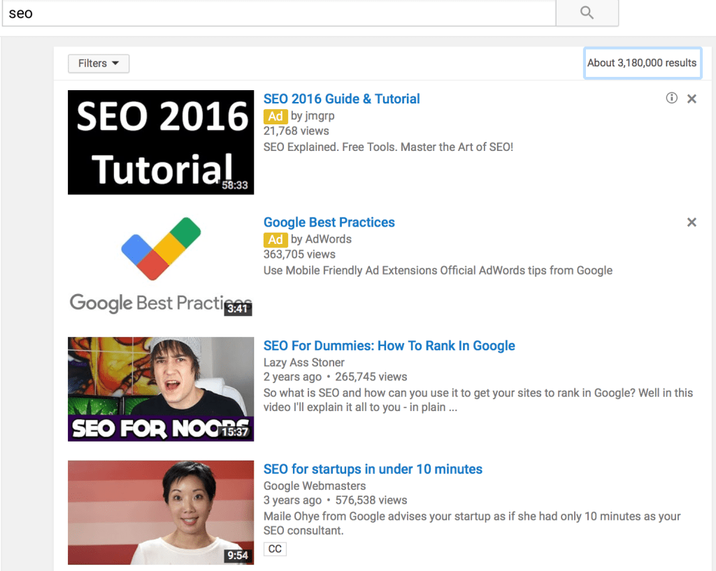 youtube seo search