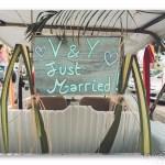 mariage, pancarte, voiture, décoration,
