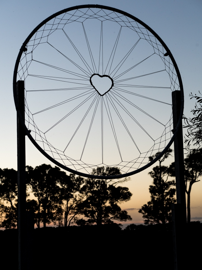 Look for the big dreamcatcher at the gate and you have the right place