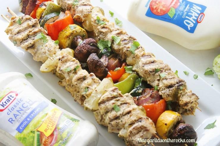Grilled Cilantro & Ranch Chicken Kabobs