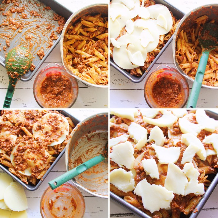 Baked Penne Pasta w/ Red Wine Bolognese Sauce
