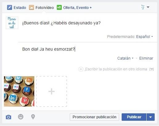 facebook page publicación multiidioma corrección