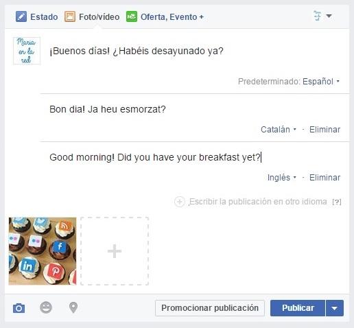 facebook page publicación multiidioma tres idiomas