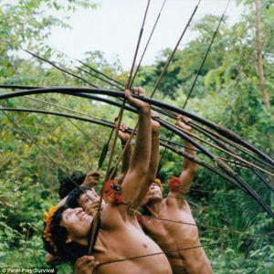 Reprodução a partir de Daily Mail - Guerreiros da etnia Awá, na Amazônia, demonstram suas habilidades com o arco e flecha