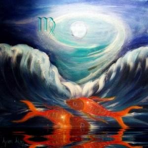Lua cheia em Peixes - Birth Chart Painting - Reprodução