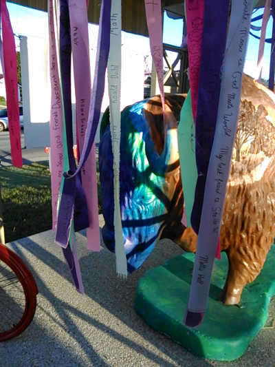 Constitution Elm. The ribbons have messages from school children.