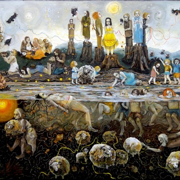 """Folktale with Crows, Doves, and Lost Sheep"", Oil on Canvas, 2008"