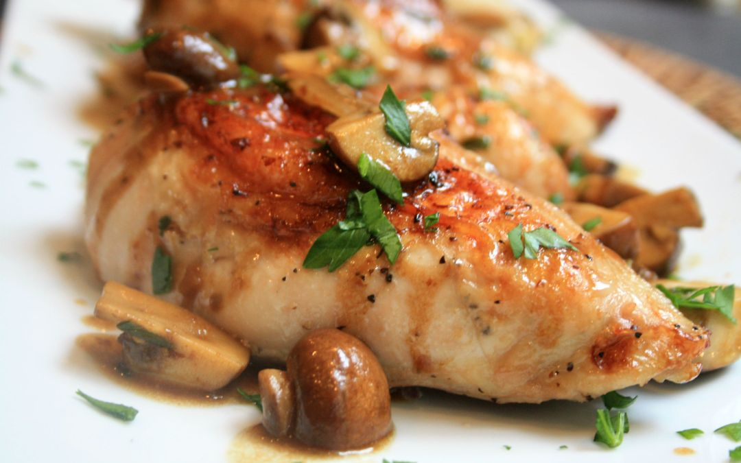 Parmesan Chicken with Mushrooms Wine Sauce (Weight Watchers)