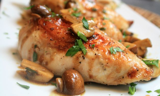 Parmesan Chicken with Mushrooms Wine Sauce (Weight Watchers)