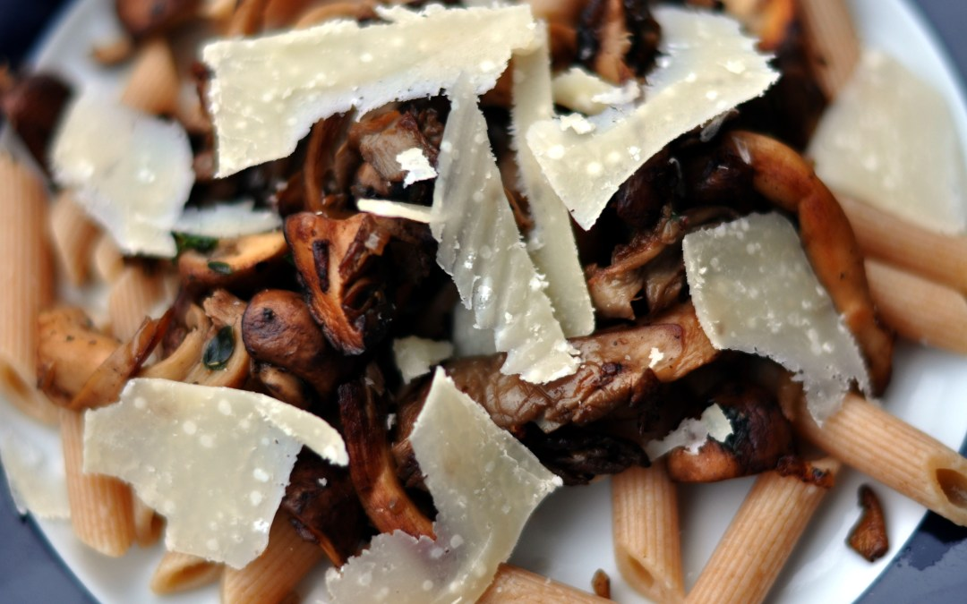 Roasted Mushrooms with Parmesan and Pine Nuts