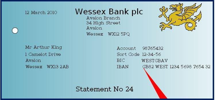bank details iban