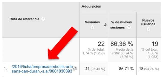Visualización en Analytics del Informe sobre la adquisición de tráfico