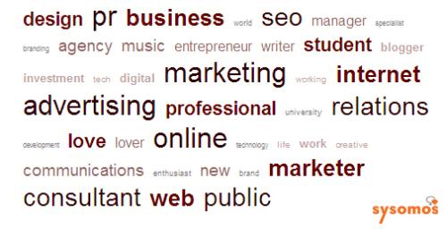 ソーシャルメディアマーケターのプロフィールで最も使われているワードは?