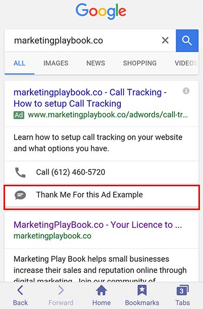 adwords messaging extension example
