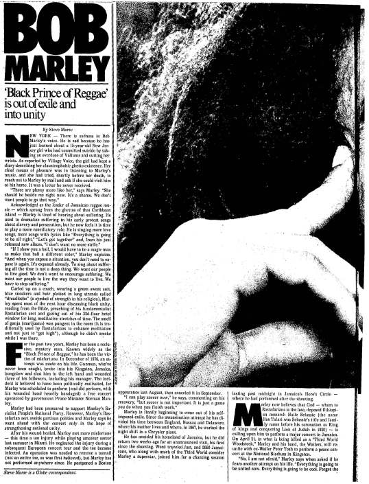 1978-03-30 Black Prince of Reggae' is out of exile and into unity - Steve Morse_Page_1