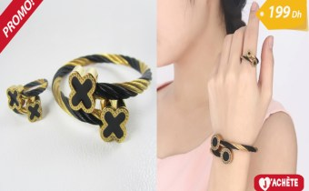 Ensemble bracelet et bague taille ajustable