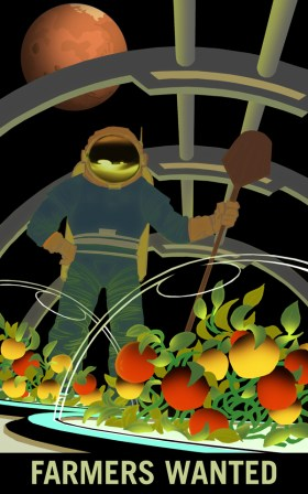 Artist's concept of an astronaut working in a greenhouse in space, growing tomatoes, with Mars in the night sky.