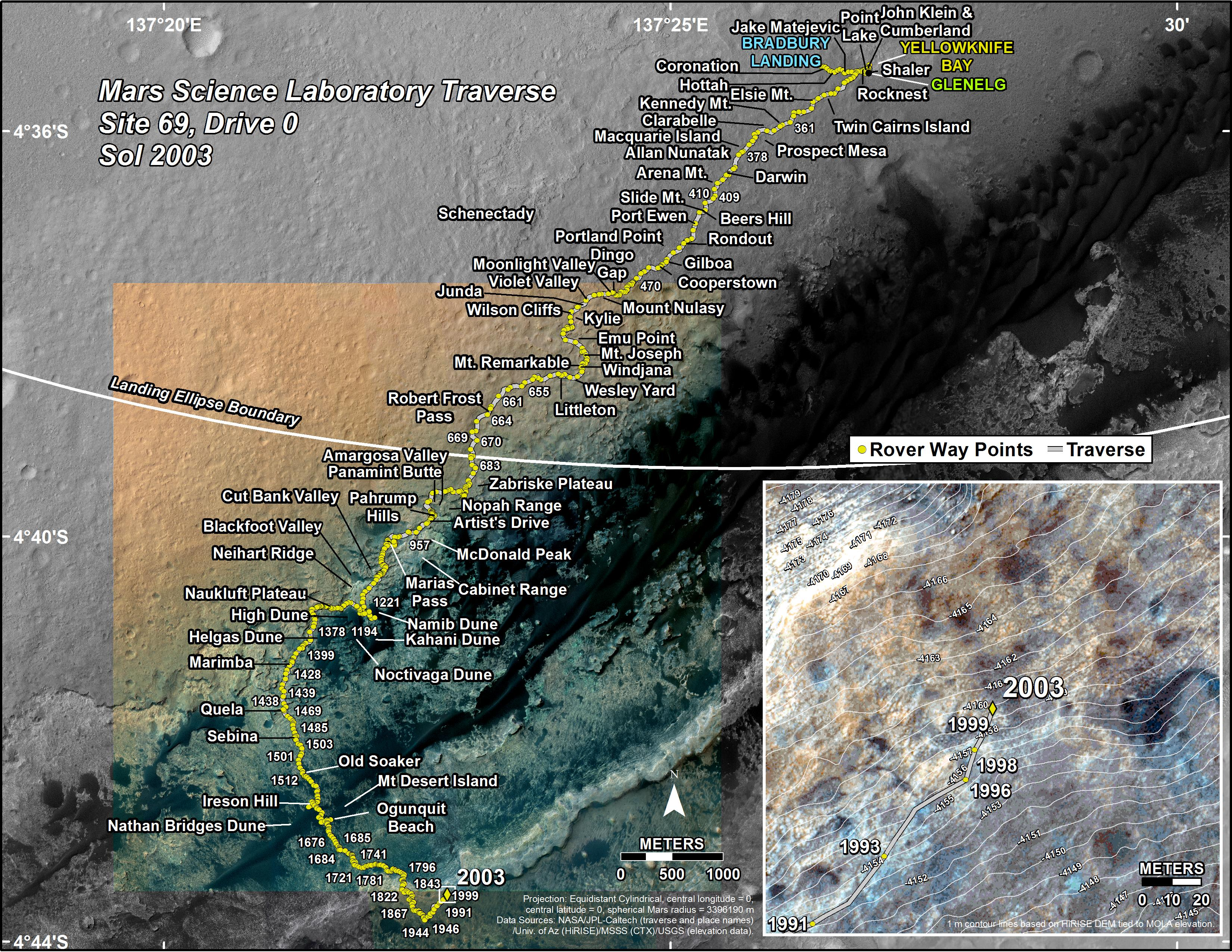 Where is Curiosity    Mars Science Laboratory Curiosity s Traverse Map Through Sol 2003