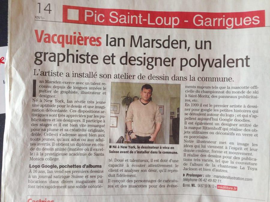 Article Midi Libre sur Illustrateur, Designer et Graphiste Ian Marsden