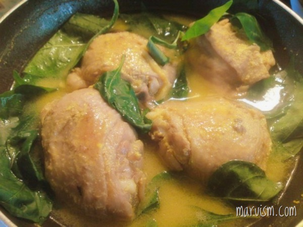 pinatisang manok with sili leaves