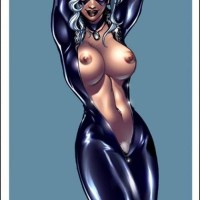 This is Black Cat and she has some problems with front zip of her tight costume...