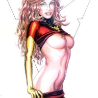 Hot Jean Gray aka Phoenix taking off her tight red costume...