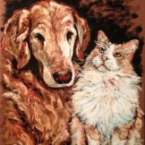 Furry Friends, 11x14 pastel commission