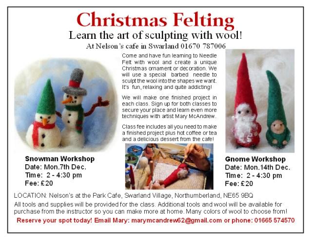 snowman + gnome wkshps flyer Needle Felting Classes and a Christmas Fair