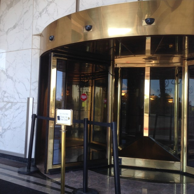 I imagine people flung about willy-nilly as this revolving door goes into the rinse cycle during high winds.