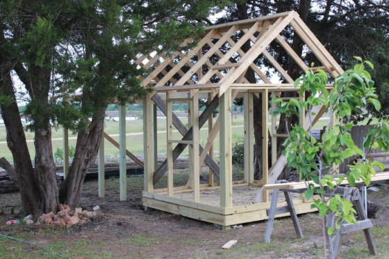 Eventhough it rained on Friday, my buddy Ruben was still able to get the roof frame on the coop